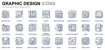 Web- und Grafikdesign-Linie Ikonen vektor