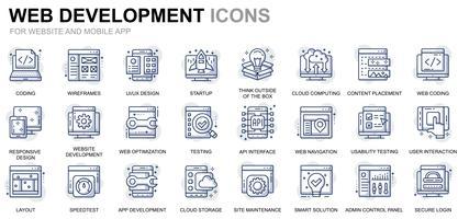 Webdesign und Entwicklung Liniensymbole vektor