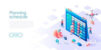 Isometrisches Konzept des Planungszeitplans für Fahne und Website