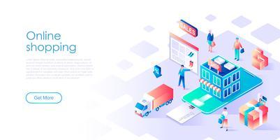 Isometrisches Konzept des on-line-Einkaufens für Fahne und Website