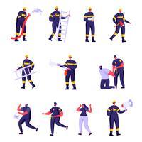 Satz flache Feuerwehrmänner, Polizisten und Opfer vektor