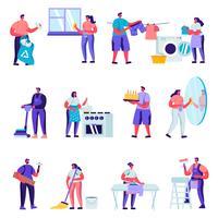 Uppsättning av platta hushållare-tecken som rengör hemtecken