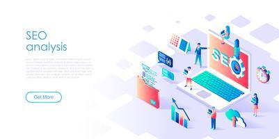 Isometrisches Konzept von SEO Analysis für Fahne und Website