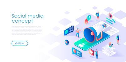 Isometriskt begrepp av sociala medier för banner och webbplats vektor