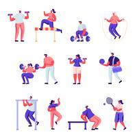 Uppsättning platt professionella karaktärer för sportaktiviteter vektor