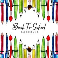 Skrivverktyg akvarell tillbaka till skolbakgrund