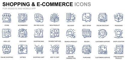 Shopping- och e-handelslinjeikoner vektor