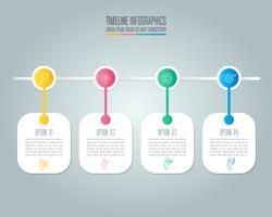 Kreatives Konzept für Infografik mit 4 Optionen, Teilen oder Prozessen.