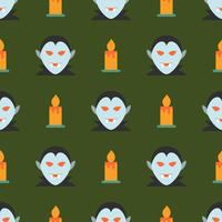 Halloween nahtlose Muster mit Vampir und Kerze vektor