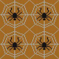 Sömlös stickningstextur med spindeln och webben vektor