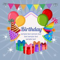 süßes Geburtstagsabzeichen mit Partyhüten und Luftballons