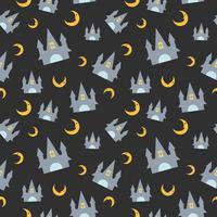 Nahtloses Muster Halloweens mit Schloss und Mond