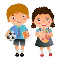 pojke- och flickestudenter med skolartiklar