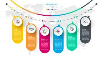 Business infographic med 6 steg