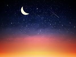 Purpurfärgad himmel i skymning mörk mörk natt vektor