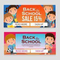 färgglada skol försäljning banner med skolbarn