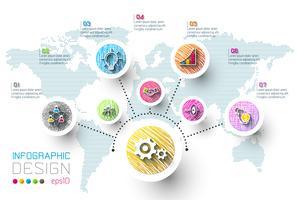 Business infographic med 8 steg