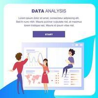 Global data analys graf landning vektor