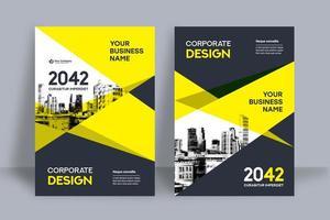 Gelbe Skyline-Hintergrund-Geschäfts-Bucheinband-Design-Schablone
