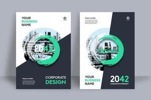Überlagerte grüne Kreisstadt-Hintergrund-Geschäfts-Bucheinband-Design-Schablone