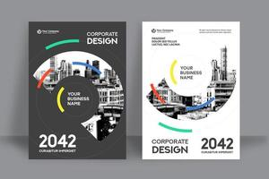 Mehrfarbige Skyline-Stadt-Hintergrund-Geschäfts-Bucheinband-Design-Schablone