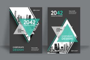 Moderne aquamarine Stadt-Hintergrund-Geschäfts-Bucheinband-Design-Schablone vektor