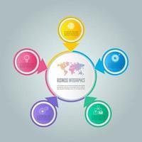 Infografik-Design-Business-Konzept mit 5 Optionen, Teile oder Prozesse.