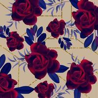 Trendig rosfodrad blommönster vektor