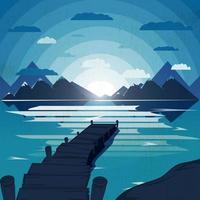 Gestalten Sie Illustration mit einzigem Pier im See landschaftlich