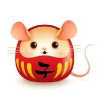 Japanische Daruma Puppe mit Rattengesicht.