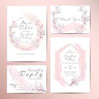 Stilvolle Hochzeits-Einladungs-Schablonen-Reihe von umrissenem Blumen vektor