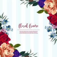 Blauer gestreifter schöner Blumenrahmen