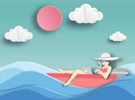 Frau, die auf einem Boot sich entspannt vektor