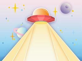 UFO-stråle på galaxbakgrund