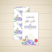 Blommig spara datumet Bröllopskortet fram och bak