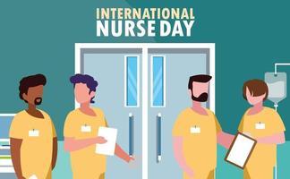 Internationaler Krankenschwestertag mit einer Gruppe von Fachleuten vektor