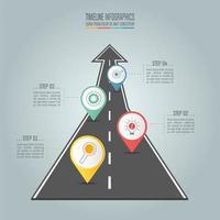Tidslinje infographic affärsidé med fyra alternativ, steg eller processer.