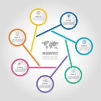 infographic design affärsidé med 7 alternativ, delar eller processer.