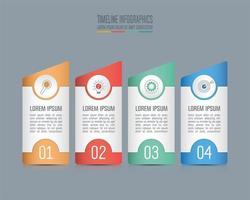 Tidslinje infographic koncept med 4 alternativ
