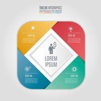 Fyrkantigt infographic affärsidé med 4 alternativ.