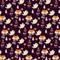 Nahtloses Muster des Herbstes mit Füchsen und Vögeln