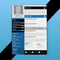 Drucken Sie modernes Lebenslauf-Vorlagen-Design vektor