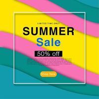 Drucken Sie buntes abstraktes Wellenhintergrund-Sommerschlussverkaufplakat