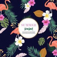 Sommerhintergrundentwurf mit rosa Flamingos und buntem Laub