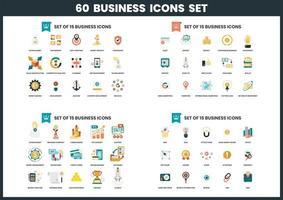 60 affärsikoner uppsättning vektor