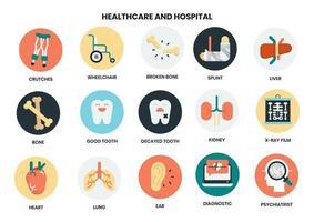 Sjukhus och sjukvård ikoner
