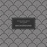 Geometrisk sömlös monokrom upprepande mönster med rundade rader