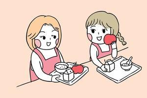Zurück zu den Schulmädchen in der Kantine Frühstück essend vektor