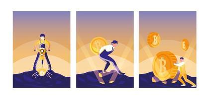 uppsättning av teamworkers kryptobrytande bitcoins