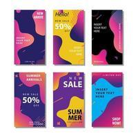 uppsättning färgglada sociala medier försäljningsreklamblad